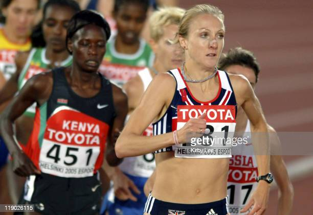 Paula Radcliffe of Great Britain leads the women's 10000 meters in the IAAF World Championships in Athletics at Olympic Stadium in Helsinki Finland...