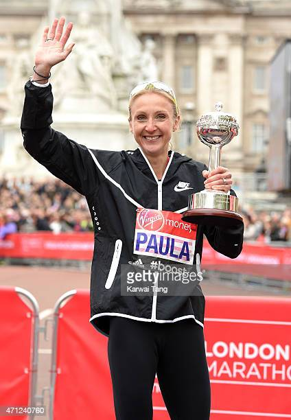 Paula Radcliffe of Great Britain receives the inaugural John Disley London Marathon Lifetime Achievement Award during the Virgin Money London...