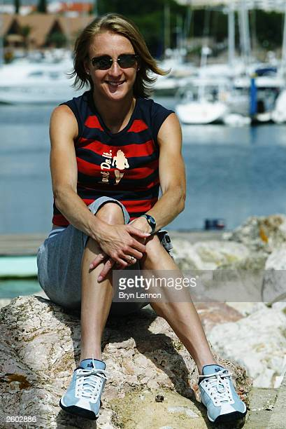 Paula Radcliffe of Great Britain relaxes prior to the 12th World Half Marathon Championships on October 3 2003 in Vilamoura Portugal