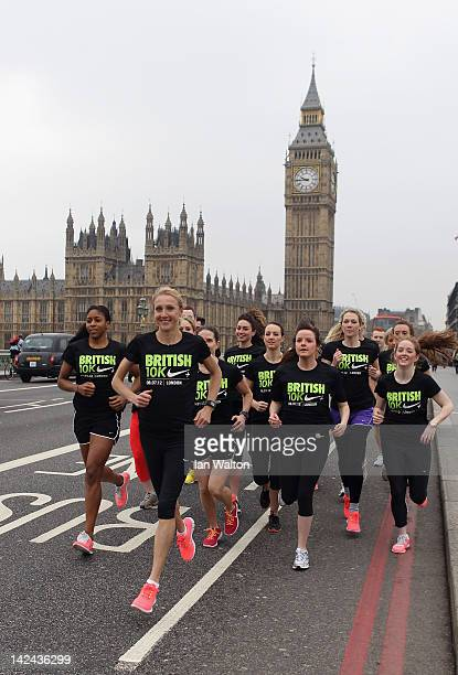 Paula Radcliffe pictured on Westminster Bridge with fellow runners to announce Nike's sponsorship of the Great British 10K on April 5 2012 in London...