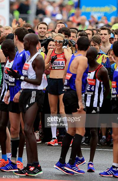 Paula Radcliffe takes her place at the front of the mass start during the Virgin Money London Marathon on April 26 2015 in London England
