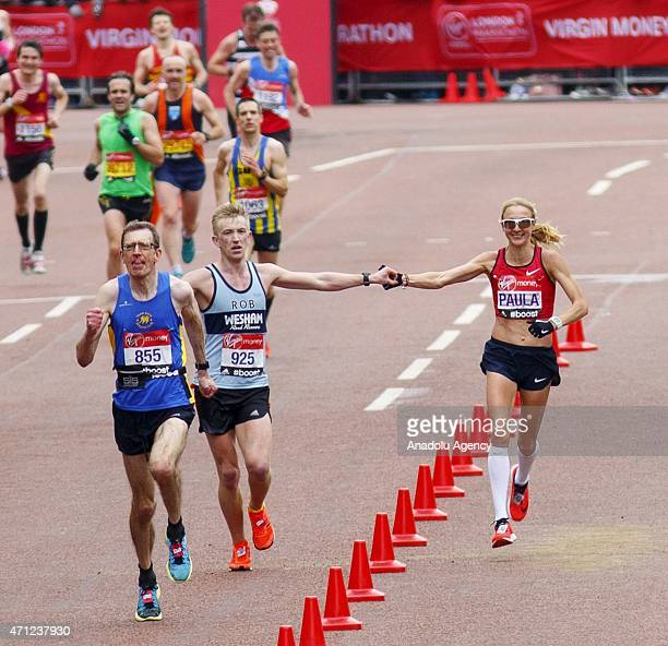 Paula Radcliffe women's world record holder finishes her final marathon race at Virgin Money London Marathon race on April 26 2015 in London England