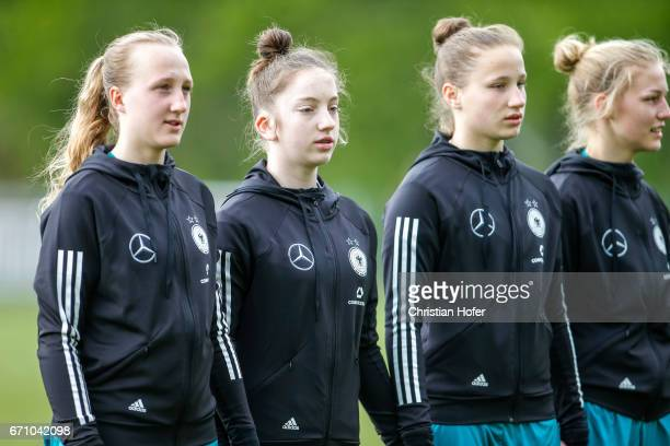 Paula Reimann Nina Schumacher Nicole Woldmann and Sophie Krall of Germany line up during the national anthem prior to the Under 15 girls...