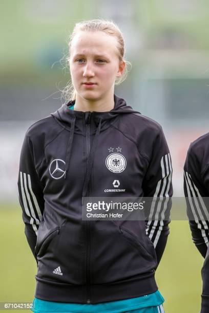 Paula Reimann of Germany is seen during the national anthem prior to the Under 15 girls international friendly match between Czech Republic and...