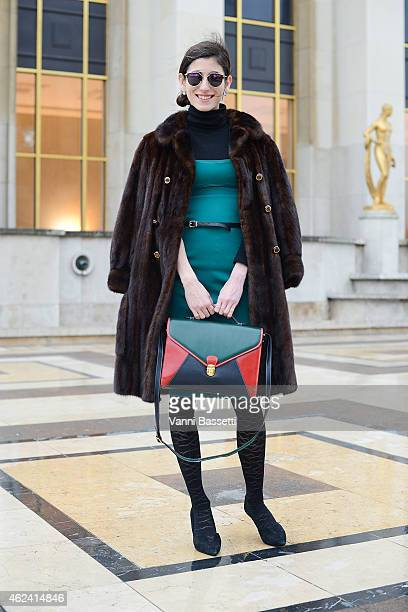 Paula Rita Saady poses wearing a Plein Sud dress and vintage fur during day 3 of Paris Haute Couture Spring Summer 2015 on January 28 2015 in Paris...
