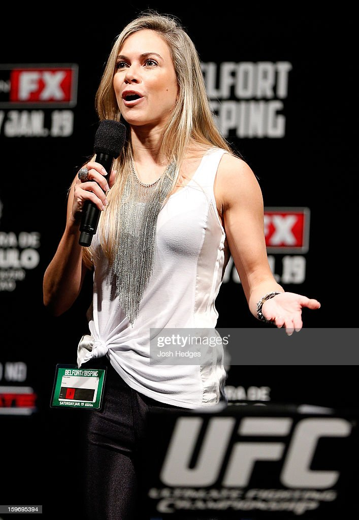 Paula Sack hosts a Q&A session before the UFC on FX official weigh-in event on January 18, 2013 at Ibirapuera Gymnasium in Sao Paulo, Brazil.