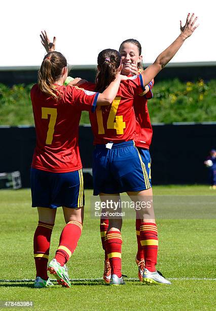 Paula Sancho and Aitana Bonmati of Spain celebrate during the UEFA European Women's Under17 Championship match between U17 Germany and U17 Spain at...