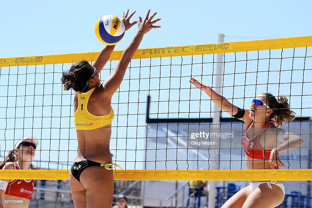 Paula Soria Gutierrez of Spain (left) and Magdalena Dostalova of Czech Republic duel at the net during FIVB Sochi Open presented by VTB - Day 1 on May 3, 2016 in Sochi, Russia.