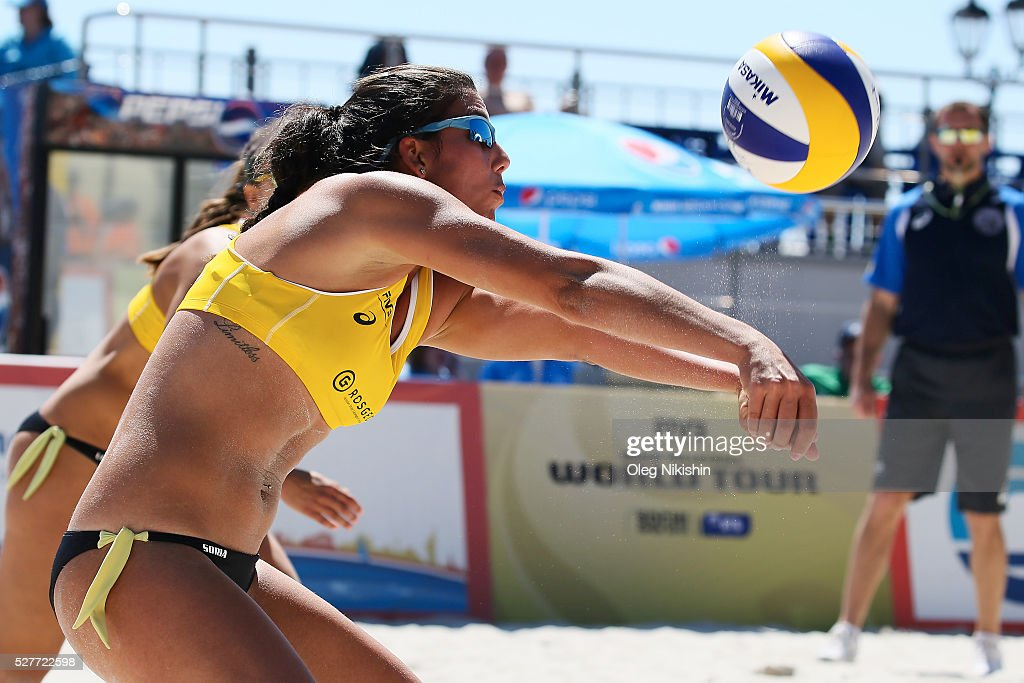Paula Soria Gutierrez of Spain receives a ball during FIVB Sochi Open presented by VTB - Day 1 on May 3, 2016 in Sochi, Russia.