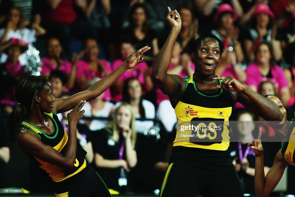 Paula Thompson and Jhaniele Fowler of Jamaica celebrate after winning the 3rd/4th playoff match between Jamaica and South Africa on day three of the Fast5 Netball World Series at Vector Arena on November 10, 2013 in Auckland, New Zealand.