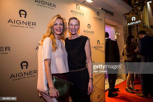 Paula Vazquez and CEO Aigner of Sibylle Schoen attend the AIGNER store opening party on October 29 2015 in Palma de Mallorca Spain