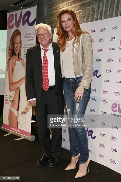 Paula Vazquez and Padre Angel present the charity campaign 'Preservando tu futuro proteges el de ellos' by Eva Clinics on January 21 2015 in Madrid...