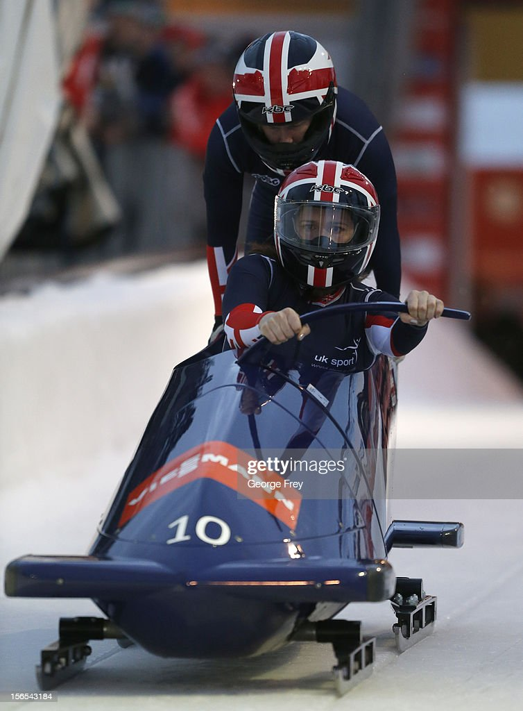 Paula Walker (F) and Gillian Cooke from Great Britain finished in ninth place in the FIBT women's bobsled world cup, on November 16, 2012 at Utah Olympic Park in Park City, Utah.
