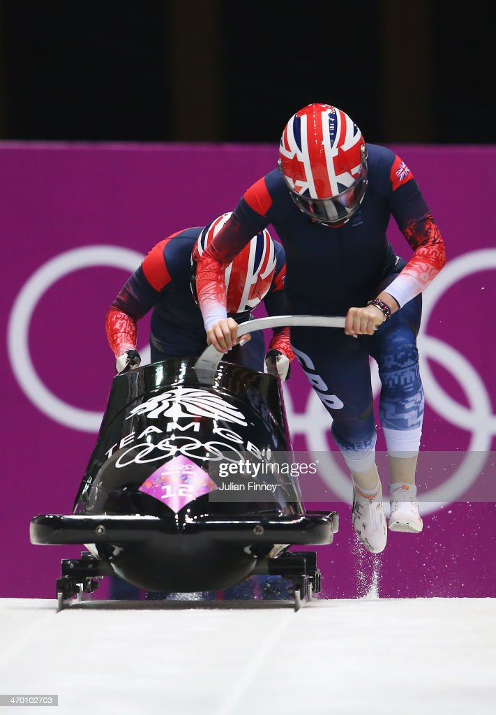 Paula Walker and Rebekah Wilson of Great Britain team 1 make a run during the Women's Bobsleigh heats on day 11 of the Sochi 2014 Winter Olympics at Sliding Center Sanki on February 18, 2014 in Sochi, Russia.