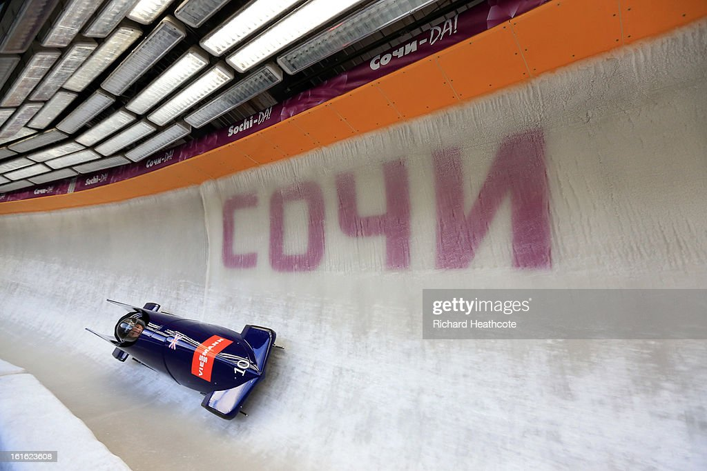 Paula Walker of Great Britian drives her bobsleigh GB1 down the ice during a practice run at the Sanki Sliding Centre in Krasnaya Polyana on February 13, 2013 in Sochi, Russia. Sochi is preparing for the 2014 Winter Olympics with test events acroos all the venues.