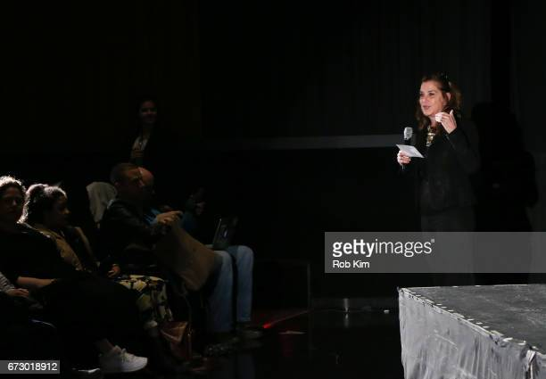 Paula Weinstein makes an intro at Tribeca Talks Paul Feig during the 2017 Tribeca Film Festival at Cinepolis Chelsea on April 25 2017 in New York City