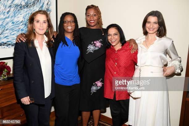 Paula Weinstein recipients of the third annual Through Her Lens Prize R Shanea Williams and Nikyatu Jusu actress Rachel Weisz and Mira Nair attend...