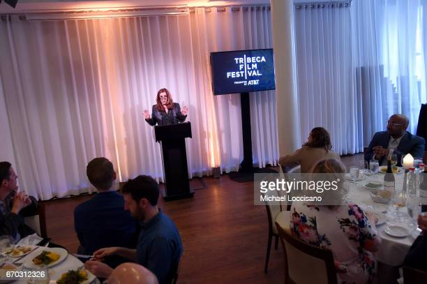 Paula Weinstein speaks at th 2017 Tribeca Film Festival Opening Press Lunch at Thalassa on April 19 2017 in New York City