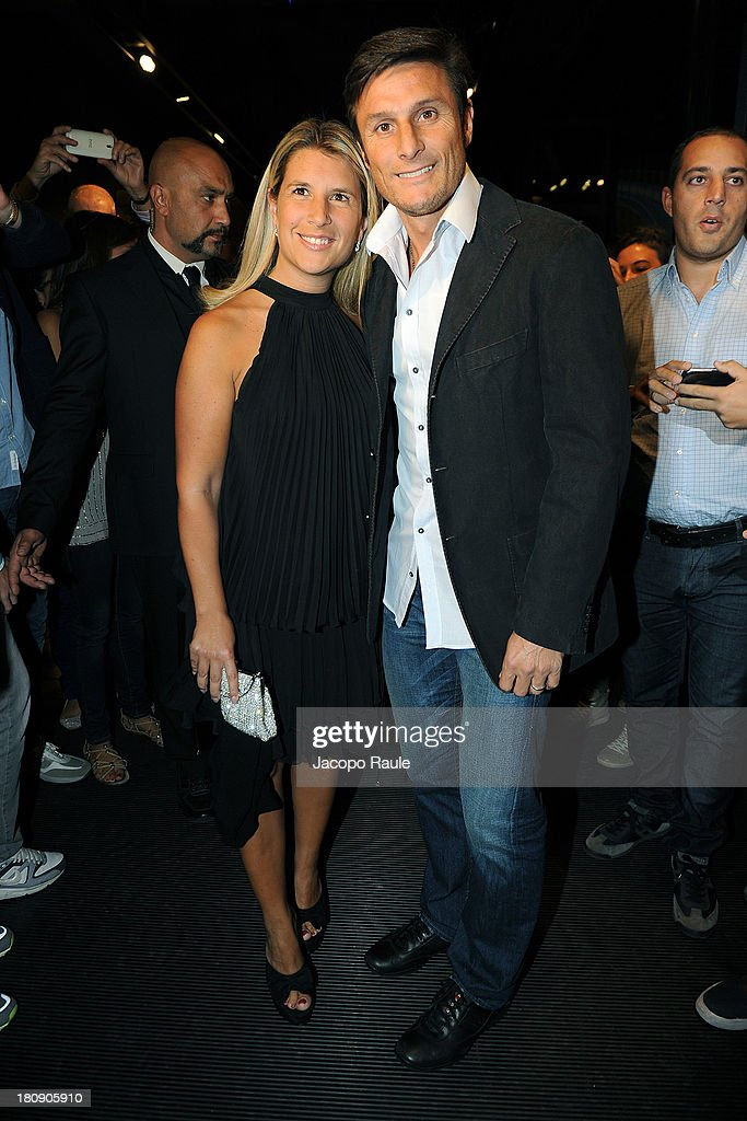 Paula Zanetti and <a gi-track='captionPersonalityLinkClicked' href=/galleries/search?phrase=Javier+Zanetti&family=editorial&specificpeople=206966 ng-click='$event.stopPropagation()'>Javier Zanetti</a> are seen at Pirelli PZero Store during The Milan Vogue Fashion Night Out on September 17, 2013 in Milan, Italy.