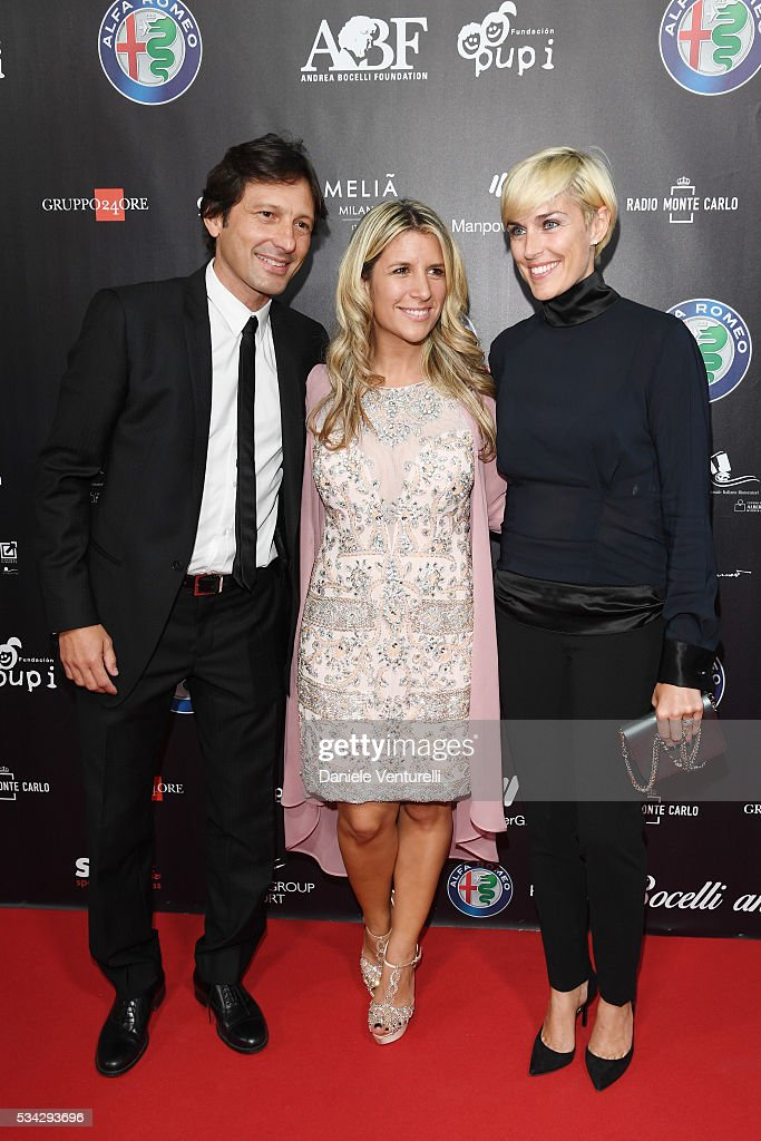 Paula Zanetti, Leonardo Billo and Anna Billo walk the red carpet of Bocelli and Zanetti Night on May 25, 2016 in Rho, Italy.