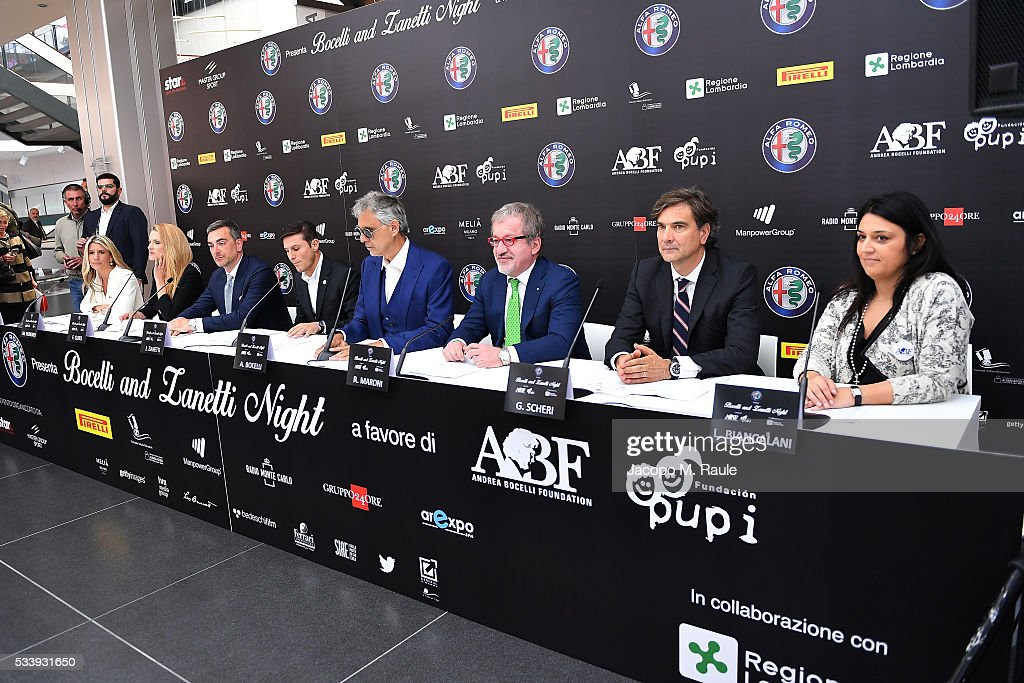 Paula Zanetti, Michelle Hunziker, Fabrizio Curci, Javier Zanetti, Andrea Bocelli, Roberto Maroni, Giancarlo Scheri and Laura Biancalani attend Bocelli and Zanetti Night press conference on May 24, 2016 in Arese, Italy.