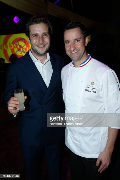 PaulCharles Ricard and Chef Philippe Mille attend the 'Bal Jaune Elastique 2017' Dinner Party at Palais Brongniart during FIAC on October 20 2017 in...