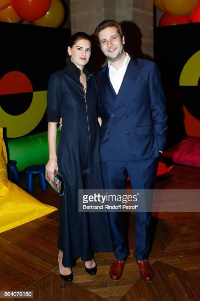 PaulCharles Ricard and his wife Alice attend the 'Bal Jaune Elastique 2017' Dinner Party at Palais Brongniart during FIAC on October 20 2017 in Paris...