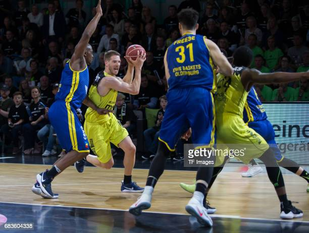 paulding Rickey of Oldenburg and Linhart Nate of medi bayreuth battle for the ball during the easyCredit BBL match between medi bayreuth and EWE...