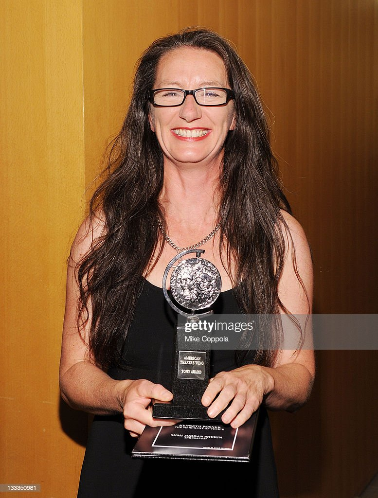 Paule Constable poses with the award for Best Lighting Design of a Play in the press room during the 65th Annual Tony Awards at the The Jewish...