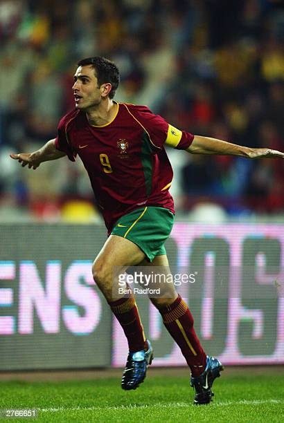 Pauleta of Portugal celebrates as he goes on a scoring frenzy during the International Friendly match between Portugal and Kuwait held on November 19...