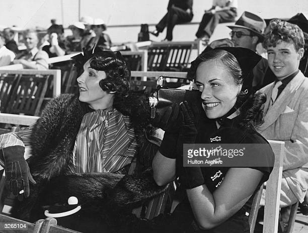 Paulette Goddard born Marion Levy American leading lady and wife to Charles Chaplin Burgess Meredith and Erich Remarque She is at an event with...
