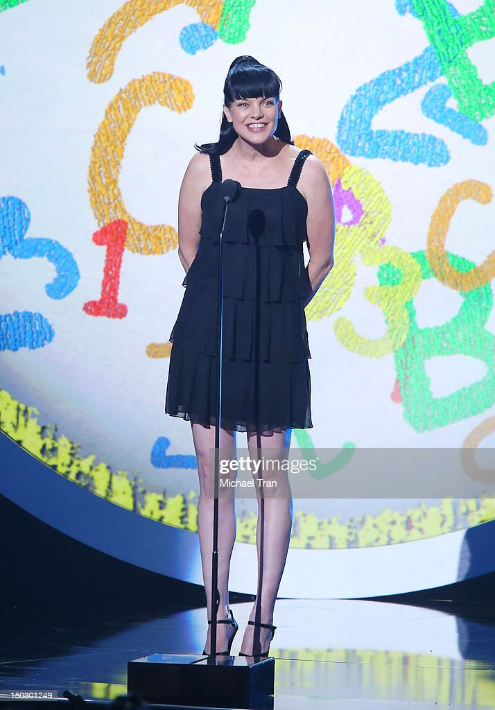 Pauley Perrette speaks onstage at the 'Teachers Rock' benefit event held at Nokia Theatre L.A. Live on August 14, 2012 in Los Angeles, California.