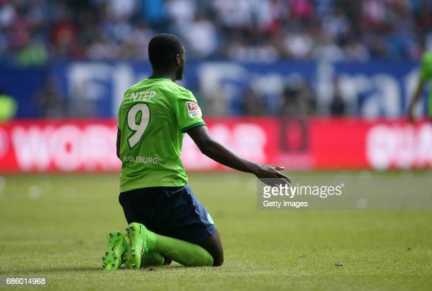 PaulGeorges Ntep disappointed during the Bundesliga match between Hamburger SV and VfL Wolfsburg at Volksparkstadion on May 20 2017 in Hamburg Germany