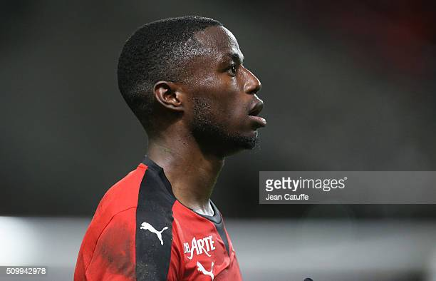 PaulGeorges Ntep of Rennes looks on during the French Ligue 1 match between Stade Rennais FC and SCO Angers at Roazhon Park stadium on February 12...