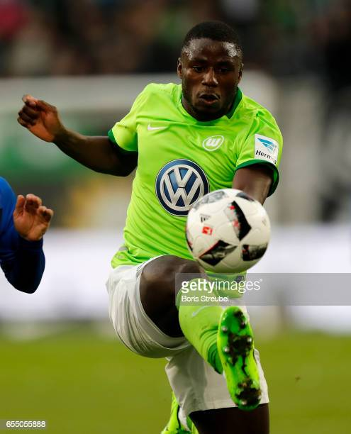 PaulGeorges Ntep of VfL Wolfsburg controls the ball during the Bundesliga match between VfL Wolfsburg and SV Darmstadt 98 at Volkswagen Arena on...