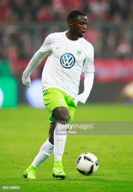 PaulGeorges Ntep of VfL Wolfsburg in action during the DFB Cup Round Of 16 match between Bayern Muenchen and VfL Wolfsburg at Allianz Arena on...