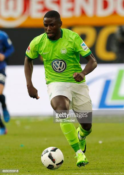 PaulGeorges Ntep of VfL Wolfsburg runs with the ball during the Bundesliga match between VfL Wolfsburg and SV Darmstadt 98 at Volkswagen Arena on...