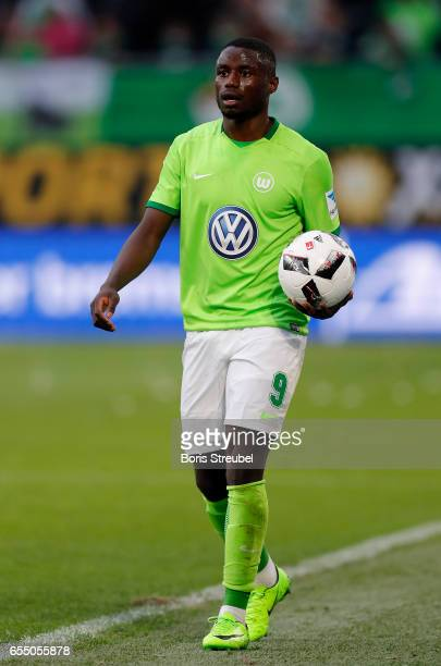 PaulGeorges Ntep of VfL Wolfsburg takes the throwin during the Bundesliga match between VfL Wolfsburg and SV Darmstadt 98 at Volkswagen Arena on...