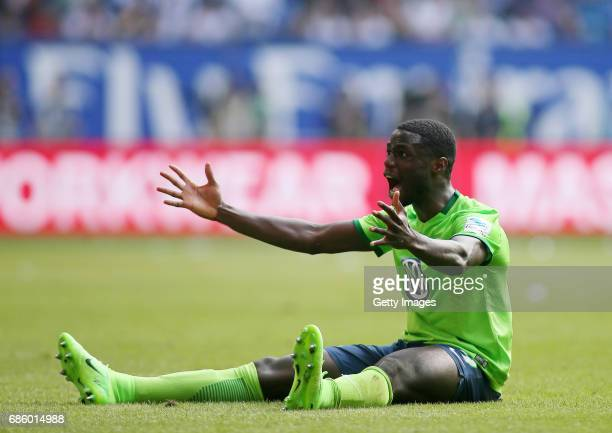 PaulGeorges Ntep reacts during the Bundesliga match between Hamburger SV and VfL Wolfsburg at Volksparkstadion on May 20 2017 in Hamburg Germany