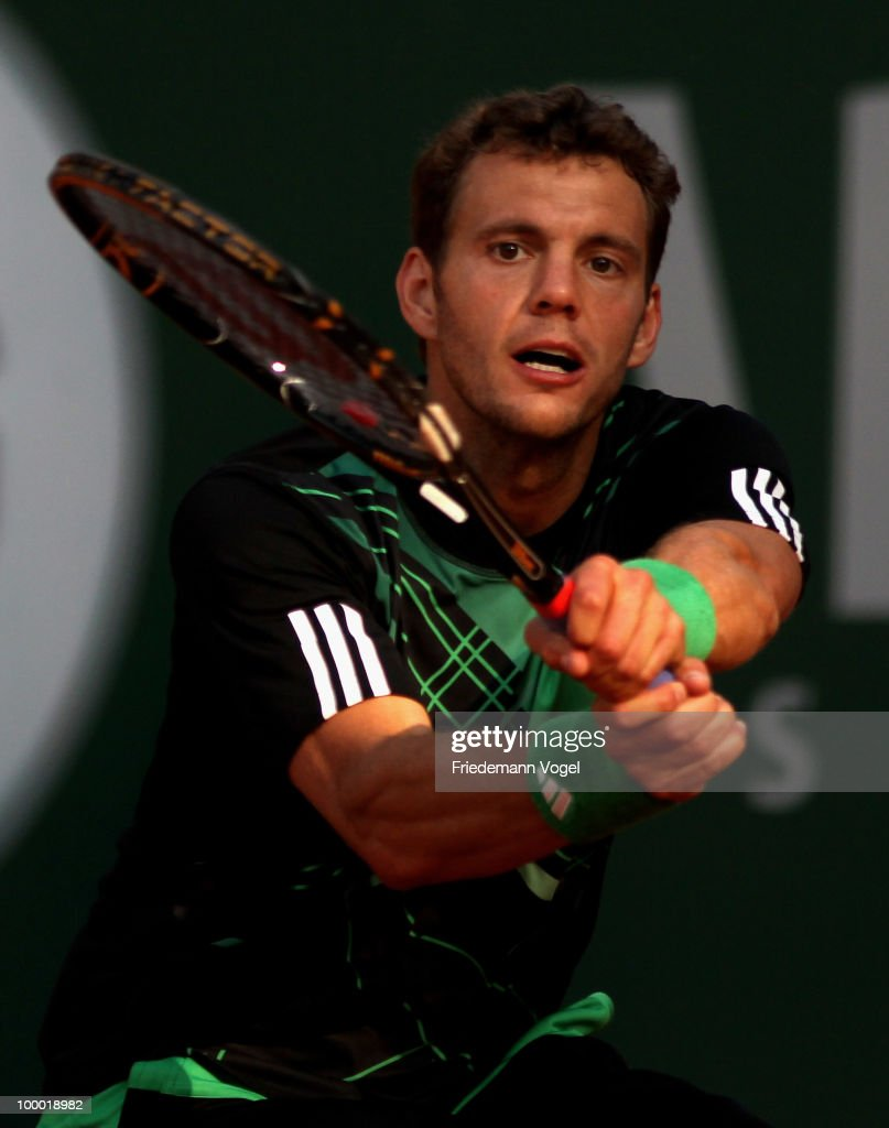 Paul-Henri Mathieu of France in action during his match against Eduardo Schwank of Argentina during day four of the ARAG World Team Cup at the Rochusclub on May 19, 2010 in Duesseldorf, Germany.