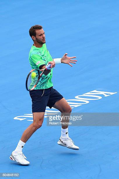 PaulHenri Mathieu of France plays a forehand in his match against Marcos Baghdatis of Cyprus during day three of the 2016 Kooyong Classic at Kooyong...
