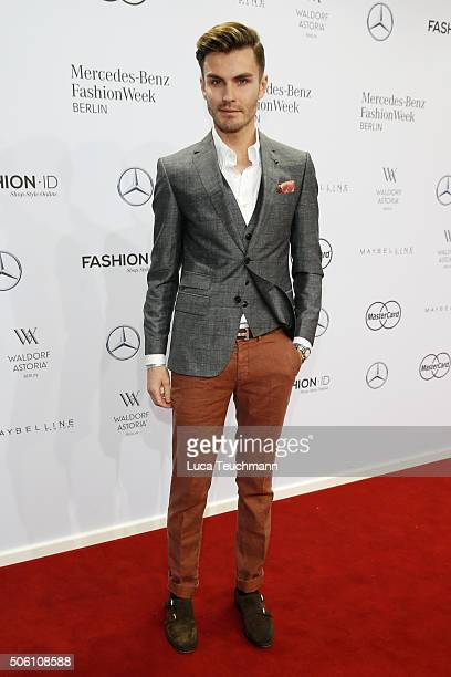 PaulHenry Duval attends the Baldessarini show during the MercedesBenz Fashion Week Berlin Autumn/Winter 2016 at Brandenburg Gate on January 21 2016...