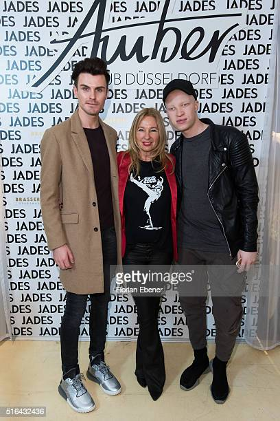 PaulHenry Duval Evelyn Hammerstroem and Shaun Ross attend a meet and greet at Jades on March 18 2016 in Duesseldorf Germany