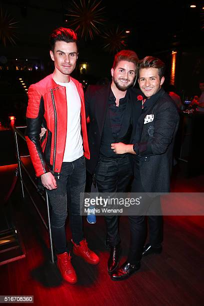 PaulHenry Duval Justus Toussis and Luca Bazzanella attend Justus Toussis Birthday Party at Apollo 21 on March 19 2016 in Wuppertal Germany