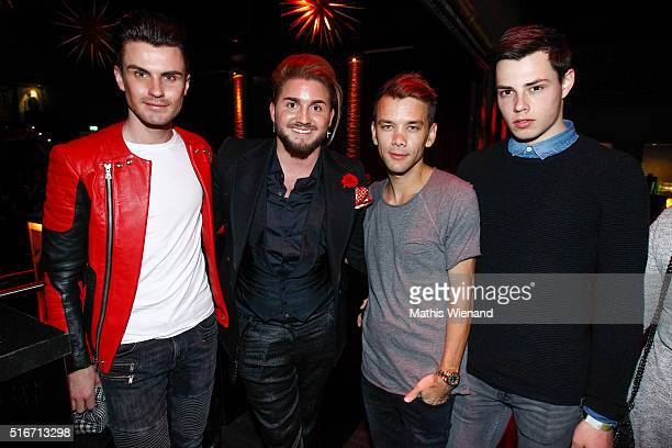 PaulHenry Duval Justus Toussis Arthur Widera Michel Berger attend Justus Toussis Birthday Party at Apollo 21 on March 19 2016 in Wuppertal Germany