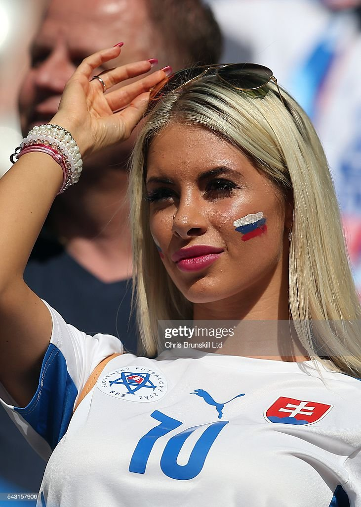 Pauli Bedzetiova, girlfriend of Miroslav Stoch of Slovakia, looks on during the UEFA Euro 2016 Round of 16 match between Germany and Slovakia at Stade Pierre-Mauroy on June 26, 2016 in Lille, France.