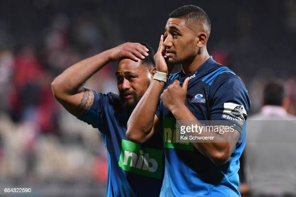 Pauliasi Manu and Jimmy Tupou of the Blues look dejected after their defeat in the round four Super Rugby match between the Crusaders and the Blues...