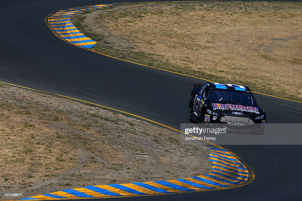 Paulie Harraka, driver of the #52 Ford, drives during qualifying for the NASCAR Sprint Cup Series Toyota/Save Mart 350 at Sonoma Raceway on June 22, 2013 in Sonoma, California.