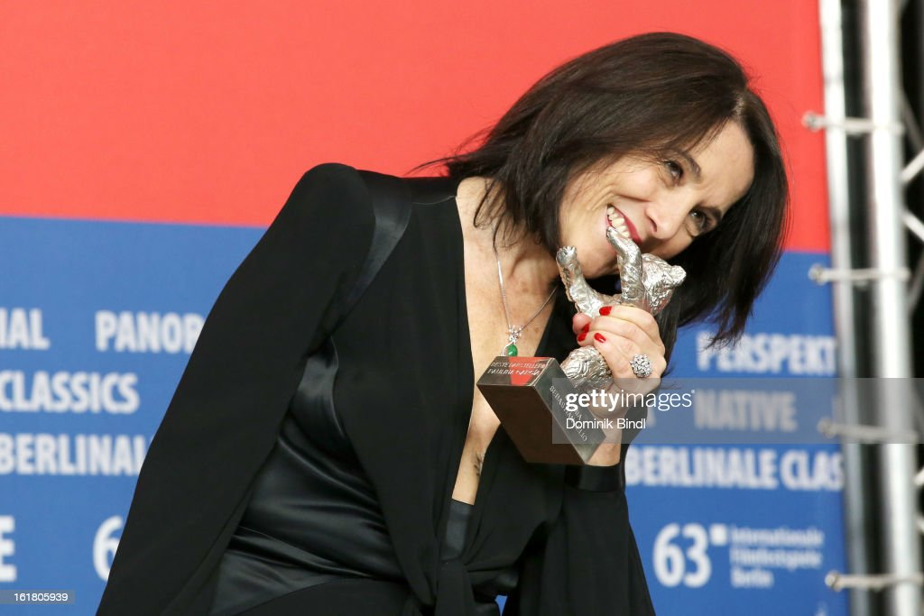 Paulina Garcia poses with the award for best actress at the Award Winners Press Conference during the 63rd Berlinale International Film Festival at Grand Hyatt Hotel on February 14, 2013 in Berlin, Germany.