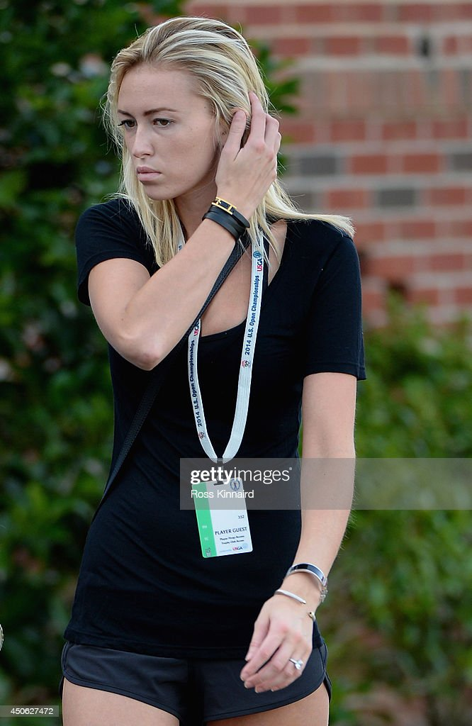Paulina Gretzky walks near the clubhouse during the third round of the 114th US Open at Pinehurst Resort Country Club Course No 2 on June 14 2014 in...
